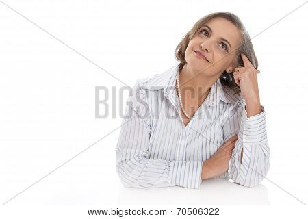 Portrait Of Senior Woman Isolated Over White Dreaming.