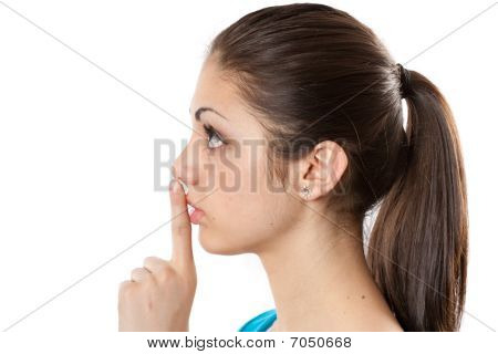 Young Lady Making Silence Sign