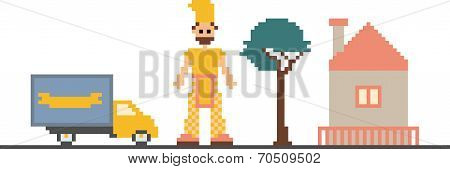 Pixel Art Clipart With Car, Tree, House And Man