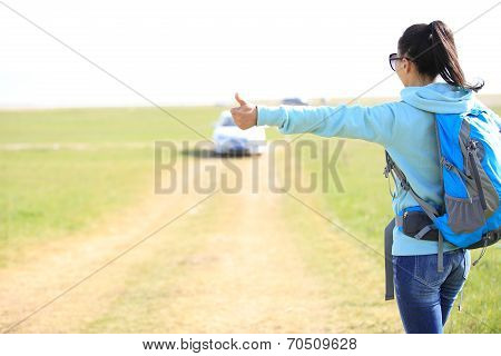 Young woman hitchhiking along a road