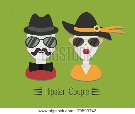 Hipster couple with sunglasses and hats on green background