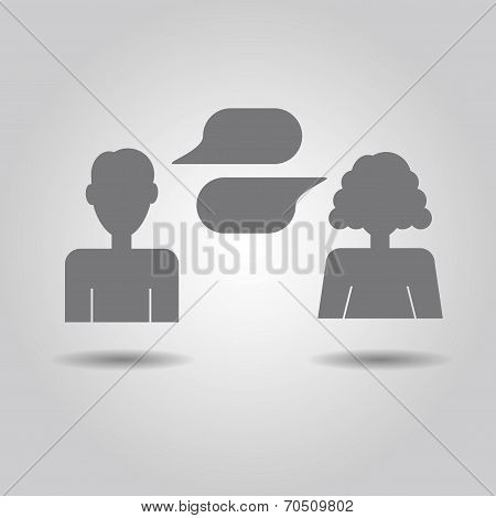 Man and woman icons with empty speech bubbles