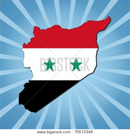 Syria map flag on blue sunburst illustration