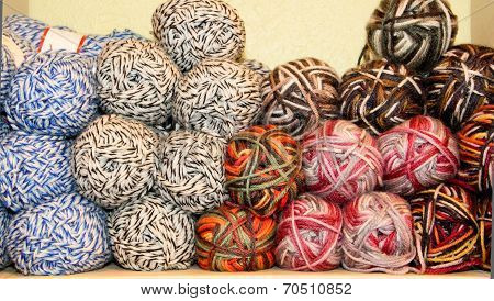 variegated yarn skeins on display