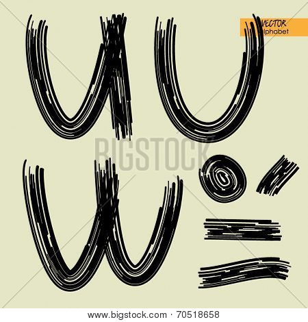 art sketched set of vector character handmade graphic black fonts, uppercase symbols, letters U, V, W, sign point, semicolon and comma, dash and underscore