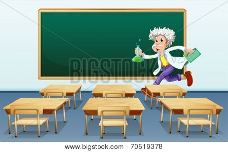 Illustration of a scientist in front of a classroom