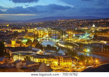 Ight View To Old Town Of Tbilisi, Georgia (country)