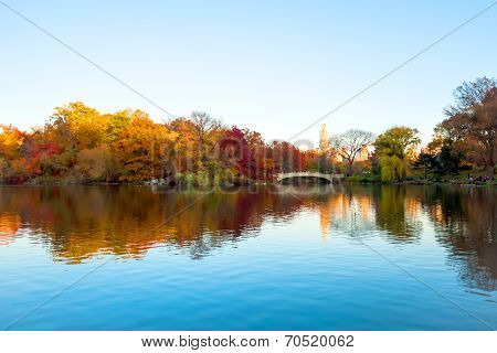 The Lake And Bow Bridge In Central Park On Clear Autumn Day
