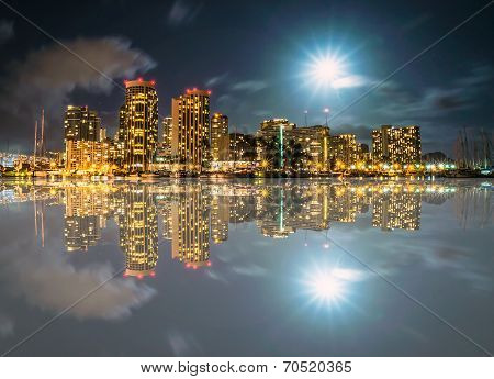 Full Moon Over Ala Wai Boat Harbor With Diamond Head In Background