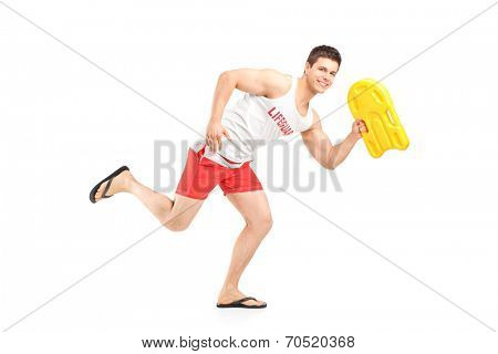Lifeguard holding a swimming float and running isolated on white background
