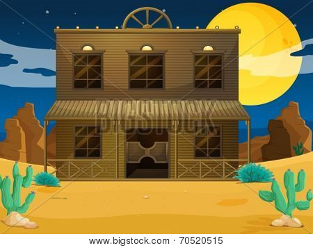 Illustration of a big building at the desert