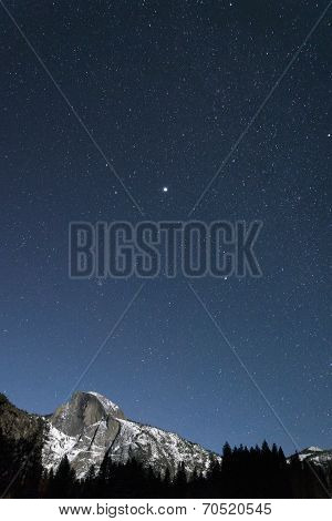 Half Dome At Yosemite On A Clear, Starry, Winter Night