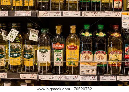 Selection Of Olive Oil On The Shelves In A Supermarket Siam Paragon In Bangkok.