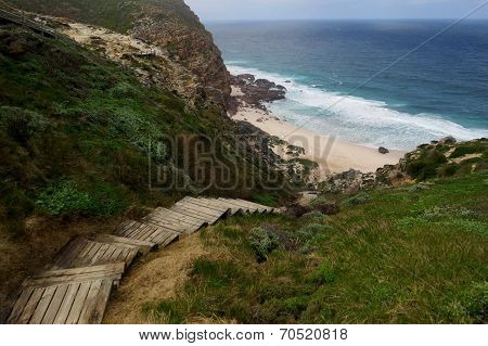 Wooden ladder leading on a wild beach