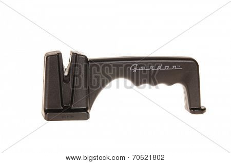 Hayward, July 20, 2014: Gordon knife blade sharpener, using ceramic rods with safety grip