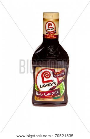 HAYWARD, CA - July 8, 2014: 12 oz bottle of Lawry's Baja Chipotle with lime juice Distributed by Lawry's Foods LLC, Sparks, MA