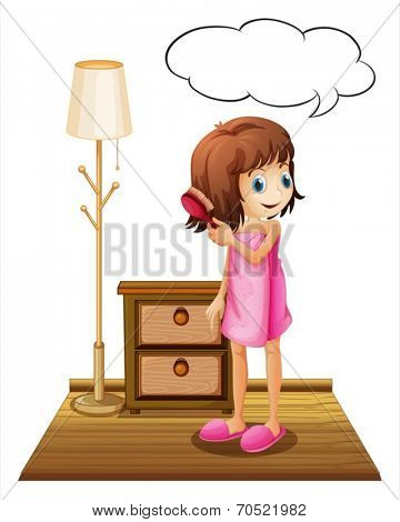 Illustration of a girl combing her hair with an empty callout template on a white background
