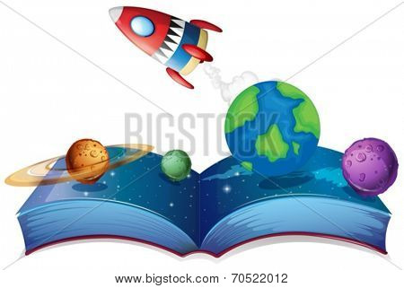 Illustration of a popup book with rocket