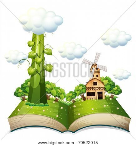 Illustration of a popup book with beanstalk