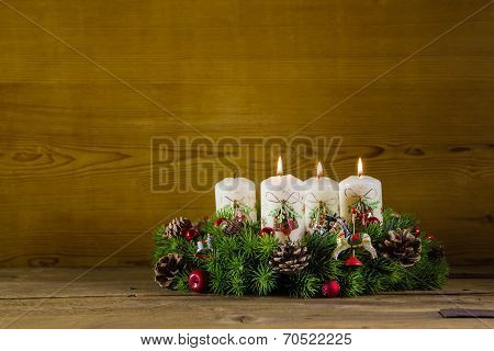 Advent Wreath Or Crown With Three Burning White Candles.