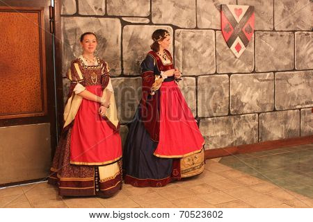 MUSKOGEE, OK - MAY 24: Royal ladies greet visitors at the Oklahoma 19th annual Renaissance Festival on May 24, 2014 at the Castle of Muskogee in Muskogee, OK