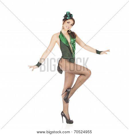 Burlesque dancer with green dress