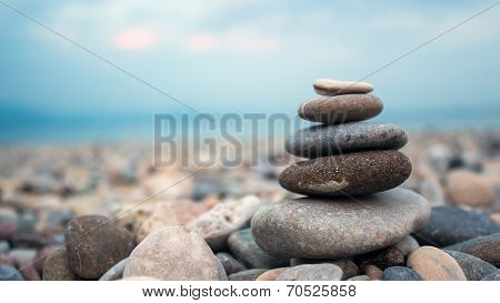 Pebbles on the shore of a lake