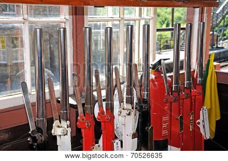 Mechanical lever frame in railway signal box.