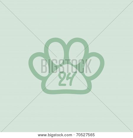 Pet paw, 24 hours a day, hand drawn numbers, vector