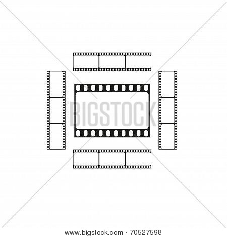 Cinema logo, movie theater sign, film strips card, vector