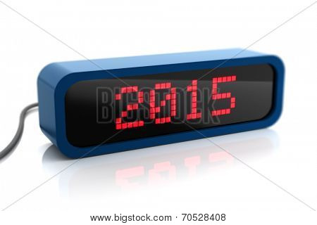 Led display of 2015 new year, isolated on white