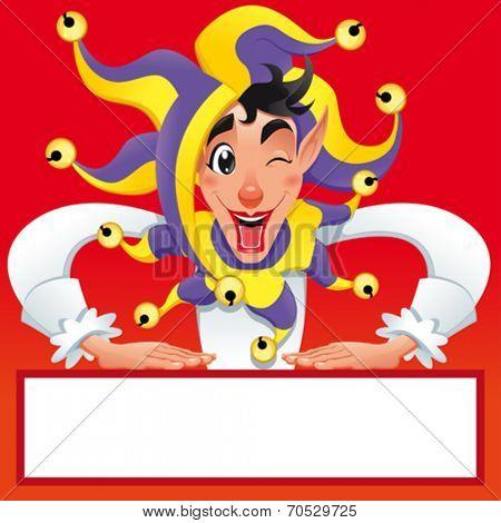 Funny Joker smiling with white frame. Vector cartoon illustration.