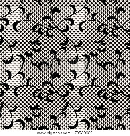 Black Leaves Lace Pattern. Objects Grouped And Named In English. No Mesh, Gradient, Transparency Use