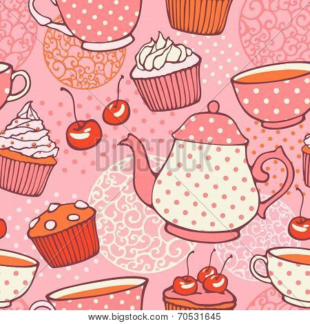 Tea time vector hand drawn seamless pattern. Decorative backgrou