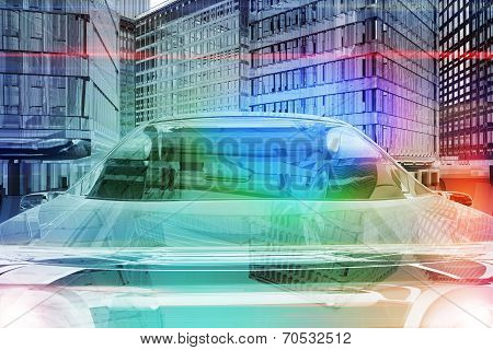 Windshield Of Futuristic Car In The City