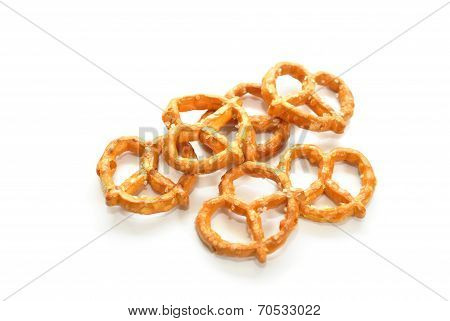 Six Pretzels Isolated Over A White Background