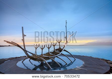 REYKJAVIK, ICELAND - AUGUST 31, 2013: Sun Voyager (Solfar) sculpture by the sea in the center of Reykjavik. Built in 1990 It symbolizes a dream of hope, progress and freedom