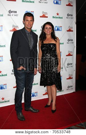 LOS ANGELES - AUG 21:  Jeff Lewis, Jenni Pulos at the OK! TV Awards Party at Sofiitel L.A. on August 21, 2014 in West Hollywood, CA