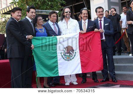 LOS ANGELES - AUG 21:  Los Tigres Del Norte, Consuelo Hernandez, Marco Antonio Solis at the Los Tigres Del Norte Honored On The Hollywood Walk Of Fame  on August 21, 2014 in Los Angeles, CA