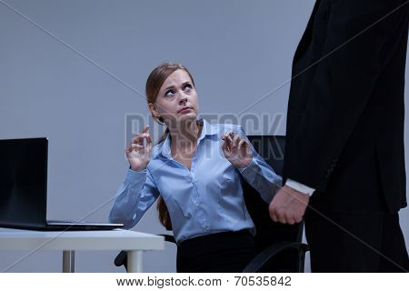 Woman Is Afraid Of Her Boss