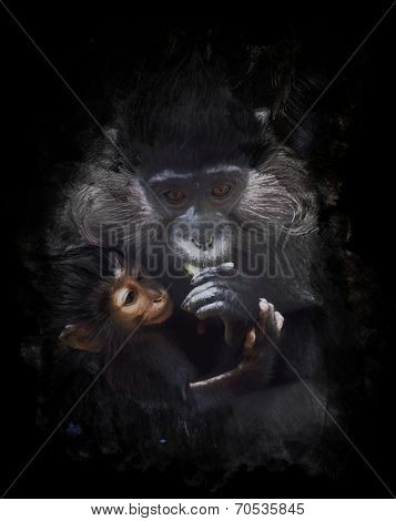 Watercolor Digital Painting Of  Mother And Baby Monkey (Black crested mangabey)