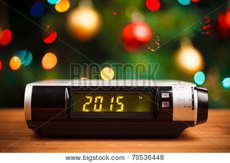 Led display of alarm clock with 2015 new year