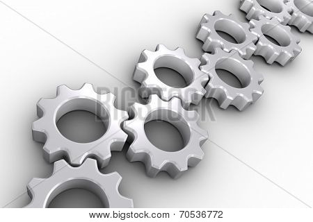 Many white cogs and wheels on white background