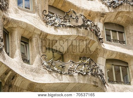 Architecture detail of Casa Mila, better known as La Pedrera, in Barcelona, Spain