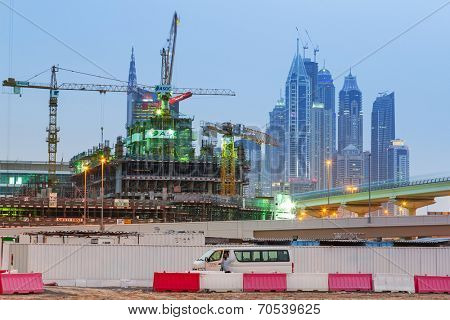 DUBAI, UAE - 3 APRIL 2014: Technology park in Dubai Internet City at dusk, UAE. Dubai Internet City is created by the government free economic zone for global information technology firms.