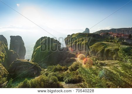 View on the Meteora mountains and monastery