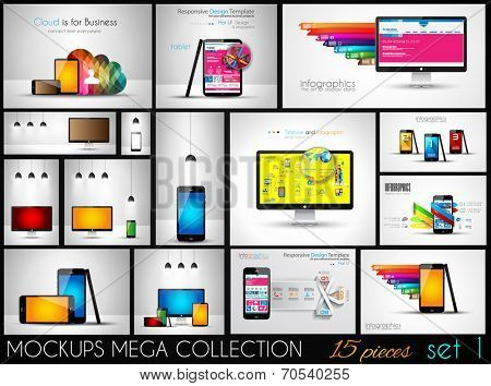Collection of phone, pc and tablet mockups with infographics. A lot od design elements to classify products and generic items.