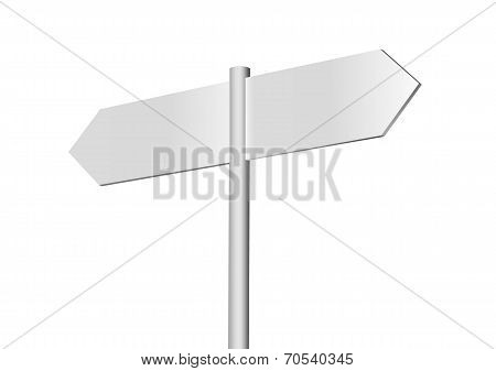 Blank signpost isolated on a white background