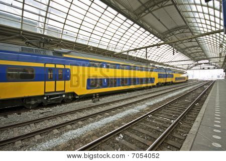 Train waiting in Central Station Amsterdam the Netherlands