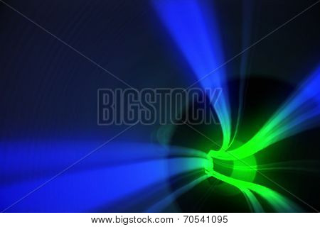 Digitally generated Blue and green vortex with light